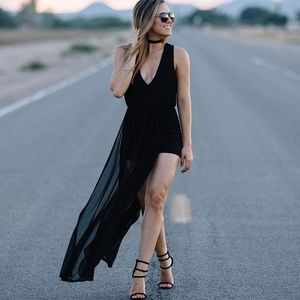 Low cut romper with mesh overlay